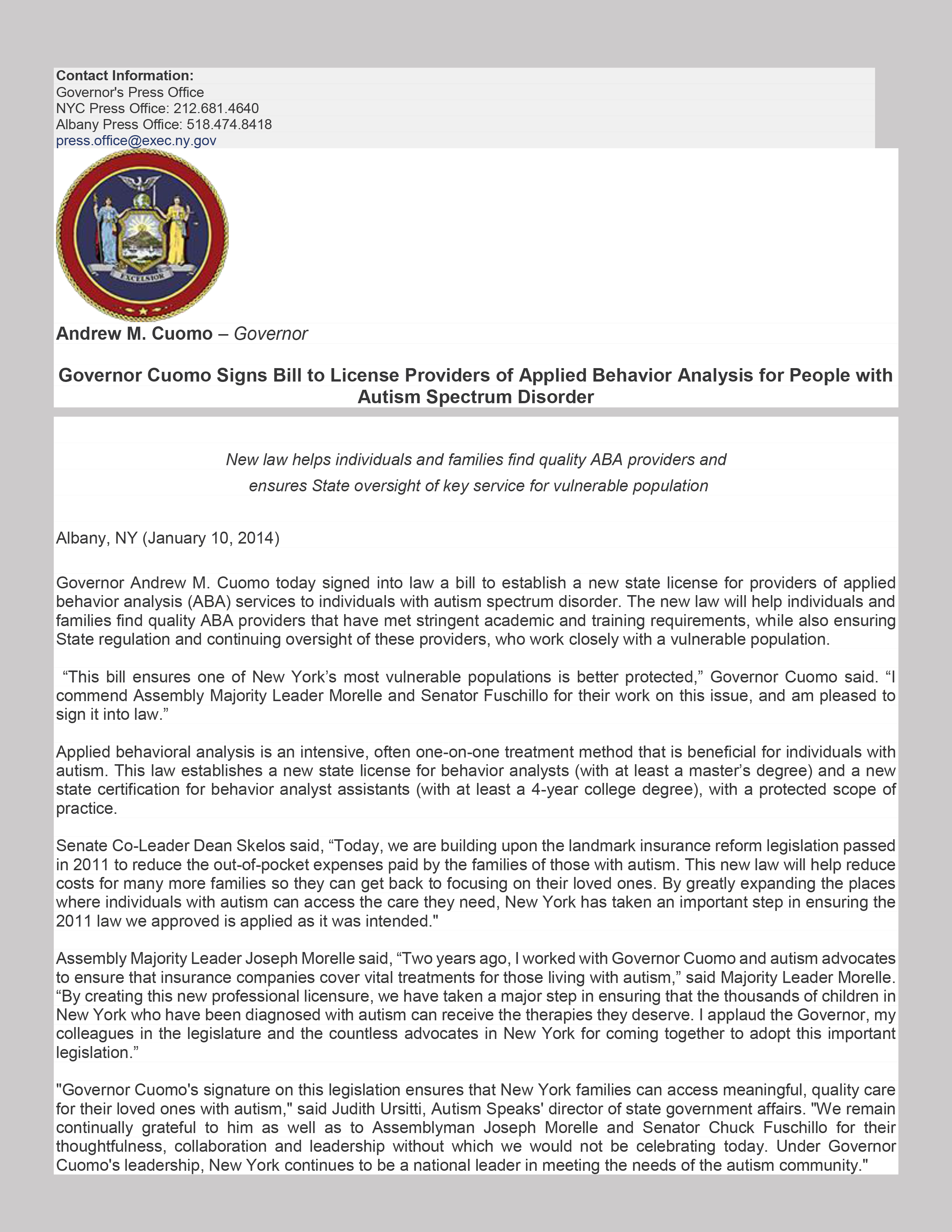 NSSA – Governor Cuomo Signs Bill to License Providers of Applied ...