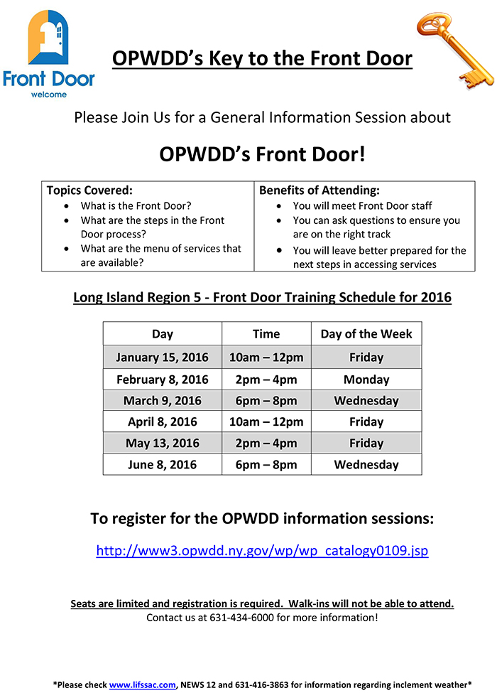 opwdd front doorNSSA  FYI OPWDD General Information Sessions  Key to the Front