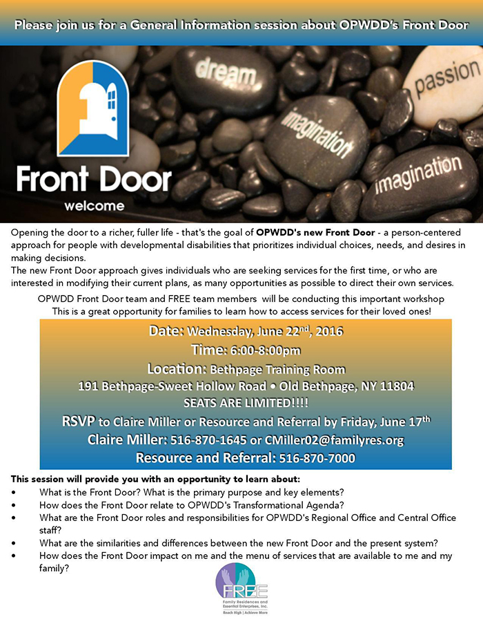 Front Door OPWDD Training At FREE 6.14.16