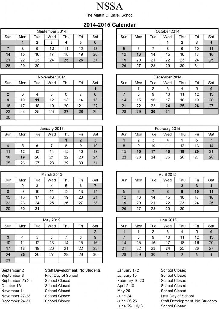 NSSA 2014 2015 Calendar