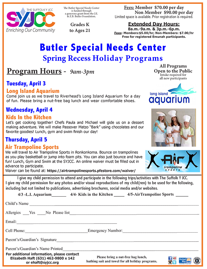 April 2018 Butler Holiday Programs